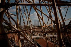 MACRO museum Rome ex-slaughterhouse Roma ex mattatoio big bambu gasometro panorama