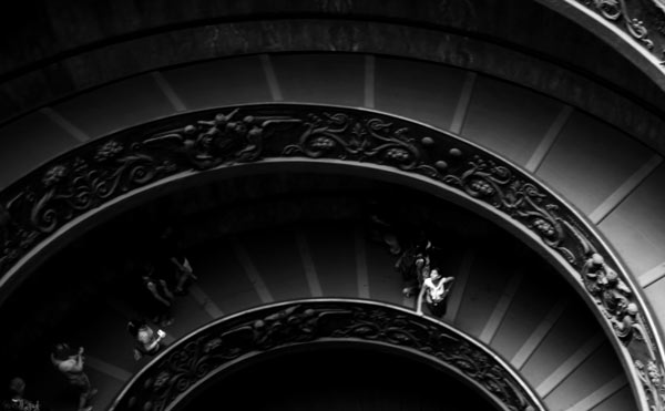 vatican, rome, italy, spiral, stairs, staircase, black and white