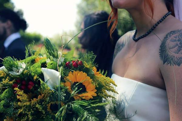 bouquet sunflower wedding bride tattoo non traditional offbeat