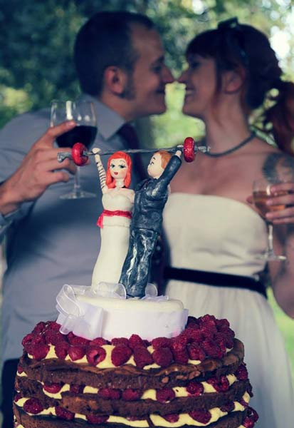 wedding cake bride groom cake topper weightlifting weights olympic lifting clean and jerk snatch