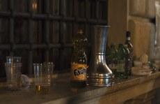 Detritus from the festivities - beer, wine and bongo.